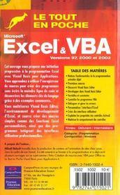 Excel Et Vba - 4ème de couverture - Format classique