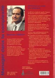 Manager Dans La Complexite - Reflexions A Usage Des Dirigeants - 4ème de couverture - Format classique