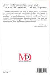 Les Notions Fondamentales Du Droit Prive ; Essai Critique Pour Servir D'Introduction A L'Etude Des Obligations - 4ème de couverture - Format classique