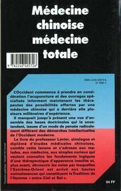 Médecine chinoise médecine totale - 4ème de couverture - Format classique