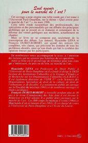 Quel Avenir Pour Le Marche De L'Art - 4ème de couverture - Format classique