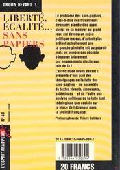 Liberte, Egalite, Sans-Papiers - 4ème de couverture - Format classique