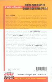 Creer son emploi, creer son entreprise. le selfplacement. guide de l'essaimage.v - 4ème de couverture - Format classique