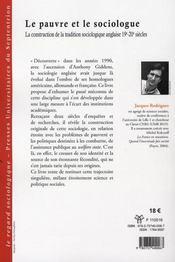 Le pauvre et le sociologue ; la construction de la tradition sociologique anglaise 19e-20e siècles - 4ème de couverture - Format classique