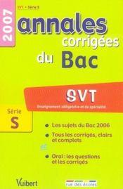 Annales corrigées du bac ; svt ; terminale s ; 2007 - Intérieur - Format classique