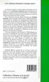 Les Medias Pensent Comme Moi ! Fragments Du Discours Anonyme - 4ème de couverture - Format classique