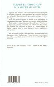 Formes Et Formations Du Rapport Au Savoir - 4ème de couverture - Format classique