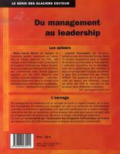 Du management au leadership - 4ème de couverture - Format classique