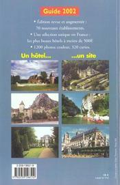 Hotels De Reve En France A Prix Tres Doux ; Edition 2002 - 4ème de couverture - Format classique