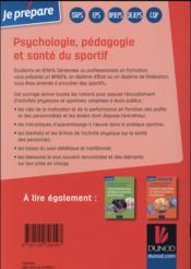 Je prépare ; les diplômes des activités physiques et sportives ; psychologie, pédagogie et santé du sportif - 4ème de couverture - Format classique