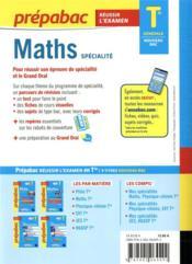 Prépabac réussir l'examen ; maths, spécialité ; terminale générale (édition 2020/2021) - 4ème de couverture - Format classique
