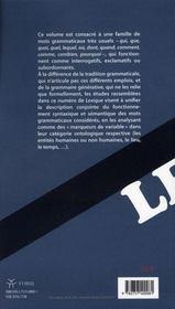 Revue Lexique N.18 ; Les Mots En Qu- Du Français - 4ème de couverture - Format classique