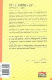 L'environnement : comprendre et gérer - 4ème de couverture - Format classique