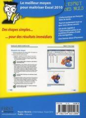 Excel 2010 pas à pas pour les nuls - 4ème de couverture - Format classique