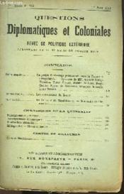Questions Diplomatiques Et Coloniales - Revue De Politique Exterieure N°155 - Couverture - Format classique