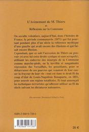 L'avènement de M. Thiers et réflexions sur la Commune - 4ème de couverture - Format classique