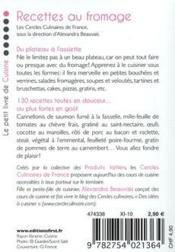 Le Petit Livre De Recettes Au Fromage - 4ème de couverture - Format classique