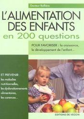 L'Alimentation Des Enfants En 200 Questions - Intérieur - Format classique