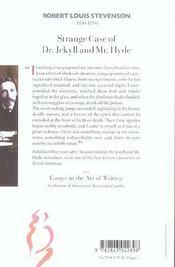 Strange case of dr. jekyll et mr. hyde ; essays of the art of writing - 4ème de couverture - Format classique