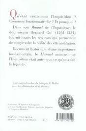 Manuel de l'inquisiteur - 4ème de couverture - Format classique
