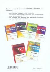 Controle Continu ; Physique-Chimie ; Terminale S ; Enseignement De Spécialité - 4ème de couverture - Format classique