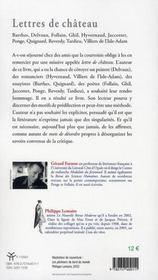 Lettres de château - 4ème de couverture - Format classique
