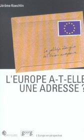 L'Europe A T-Elle Une Adresse - Intérieur - Format classique