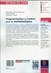 Programmation en Python pour les mathématiques (2e édition) - 4ème de couverture - Format classique