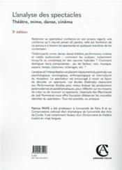 L'analyse des spectacles : théâtre, mime, danse, cinéma (3e édition) - 4ème de couverture - Format classique