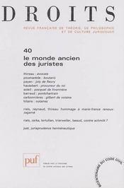 Le monde ancien des juristes (édition 2004) - Intérieur - Format classique