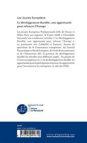 Le developpement durable une opportunite pour relancer l'europe - 4ème de couverture - Format classique
