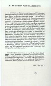 La Transition Post-Collectiviste ; Mutations Agraires En Europe Centrale - 4ème de couverture - Format classique
