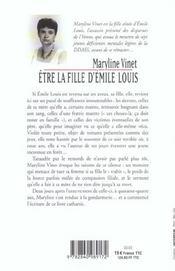 Etre la fille d'Emile Louis - 4ème de couverture - Format classique