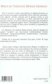 Precis de theologie morale generale t2 vol1 - 4ème de couverture - Format classique