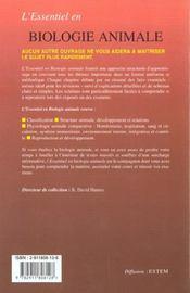 L'Essentiel En Biologie Animale - 4ème de couverture - Format classique