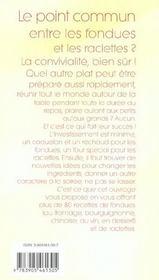 Fondues et raclettes - 4ème de couverture - Format classique