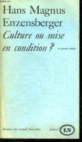 Culture Ou Mise En Condition?. - Couverture - Format classique