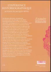 L'expérience historiographique ; autour de Jacques Revel - 4ème de couverture - Format classique