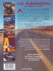 Les automobiles ; edition 2002 - 4ème de couverture - Format classique