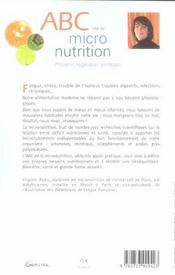 ABC de la micronutrition - 4ème de couverture - Format classique