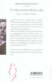 The hound of the Baskervilles ; notes on Sherlock Holmes - 4ème de couverture - Format classique