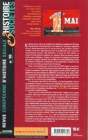 Revue Europeenne D'Histoire Sociale N.10 ; L'Europe En Grève ; Temps, Espaces, Règles Et Représentations D'Une Action Ouvrière - 4ème de couverture - Format classique
