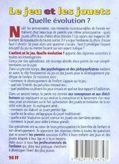 Le Jeu Et Les Jouets - 4ème de couverture - Format classique