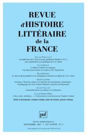 Revue D'Histoire Litteraire De La France N.2007/3 - Couverture - Format classique