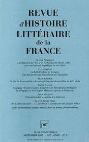 Revue D'Histoire Litteraire De La France N.2007/3 - Intérieur - Format classique