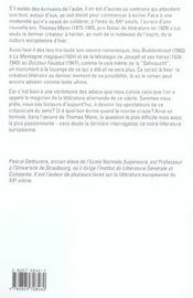 Thomas Mann Et Le Crepuscule Du Sens - 4ème de couverture - Format classique
