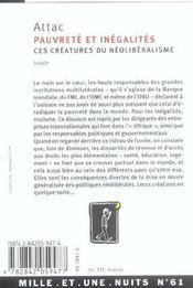 Pauvrete Et Inegalites, Ces Creatures Du Neoliberalisme - 4ème de couverture - Format classique
