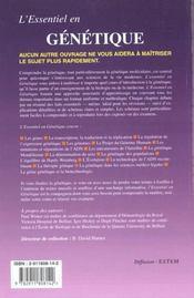 L'Essentiel En Genetique - 4ème de couverture - Format classique