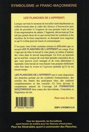Les planches de l'apprenti - edition 2014 - 4ème de couverture - Format classique