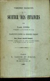 Premiers Elements De La Science Des Finances. - Couverture - Format classique